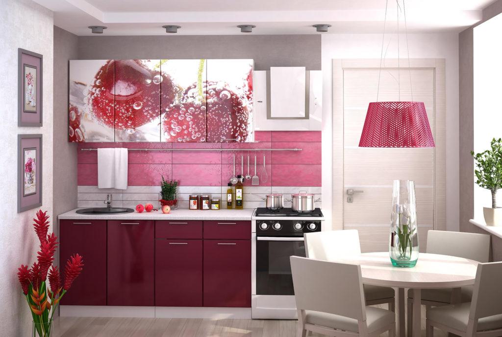 Кухня с яркой фотопечатью вишни