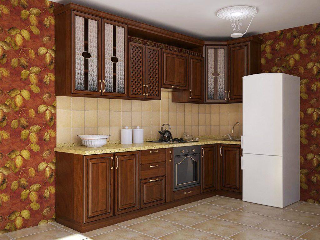 Стильная кухня с деревянными фасадами