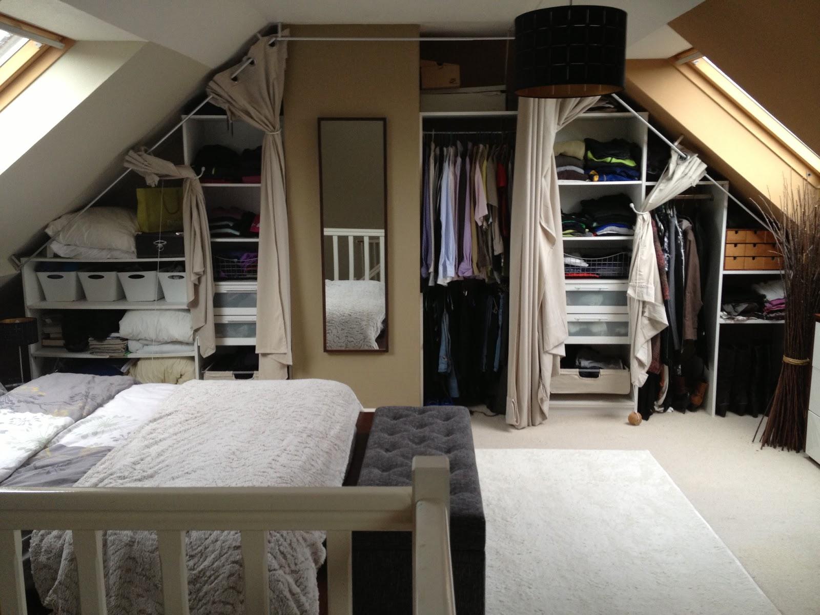 Спальня в мансарде с гардеробной