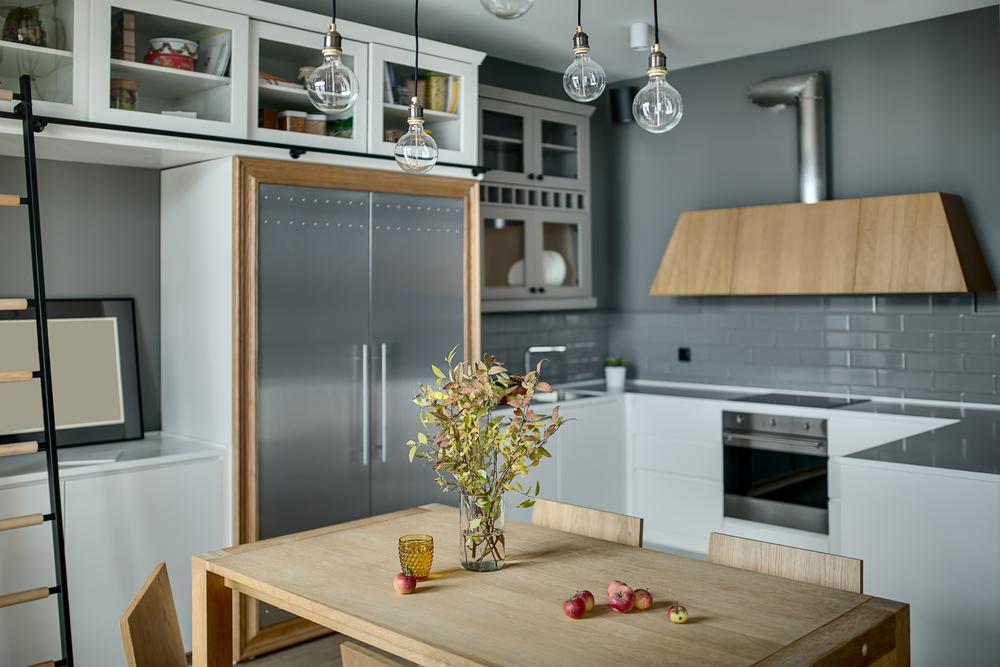 Серые оттенки на кухне