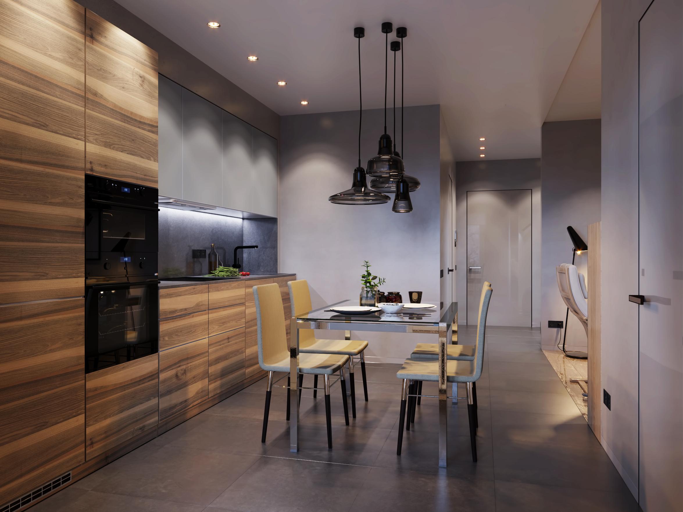 Темно серый цвет в интерьере кухни