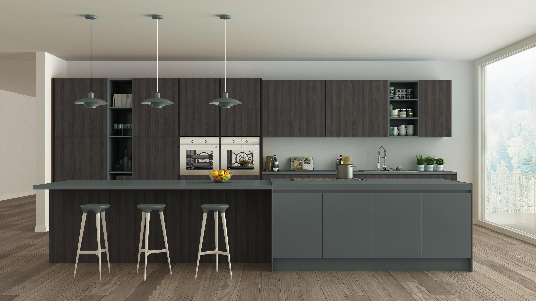 Кухонный гарнитур темно серого цвета