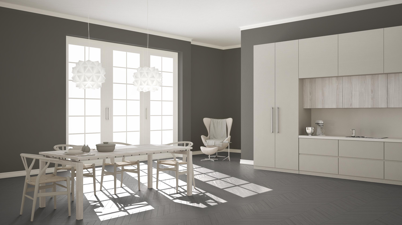 Серый пол и стены