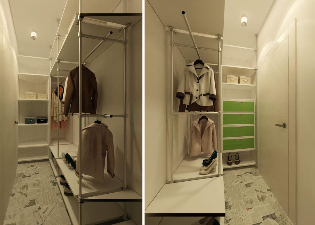 Узкая гардеробная комната в небольшой квартире