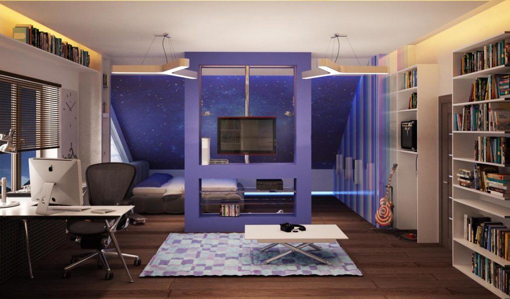 Комната для мальчика подростка в космическом стиле