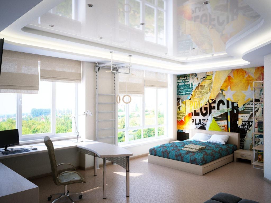 Зона разминки, кровать и рабочий стол в комнате для мальчика подростка