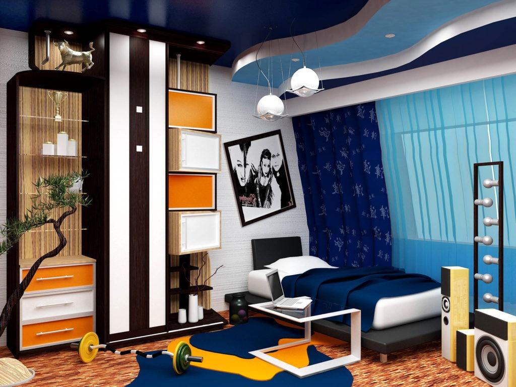 Комната для мальчика подростка с ярким декором