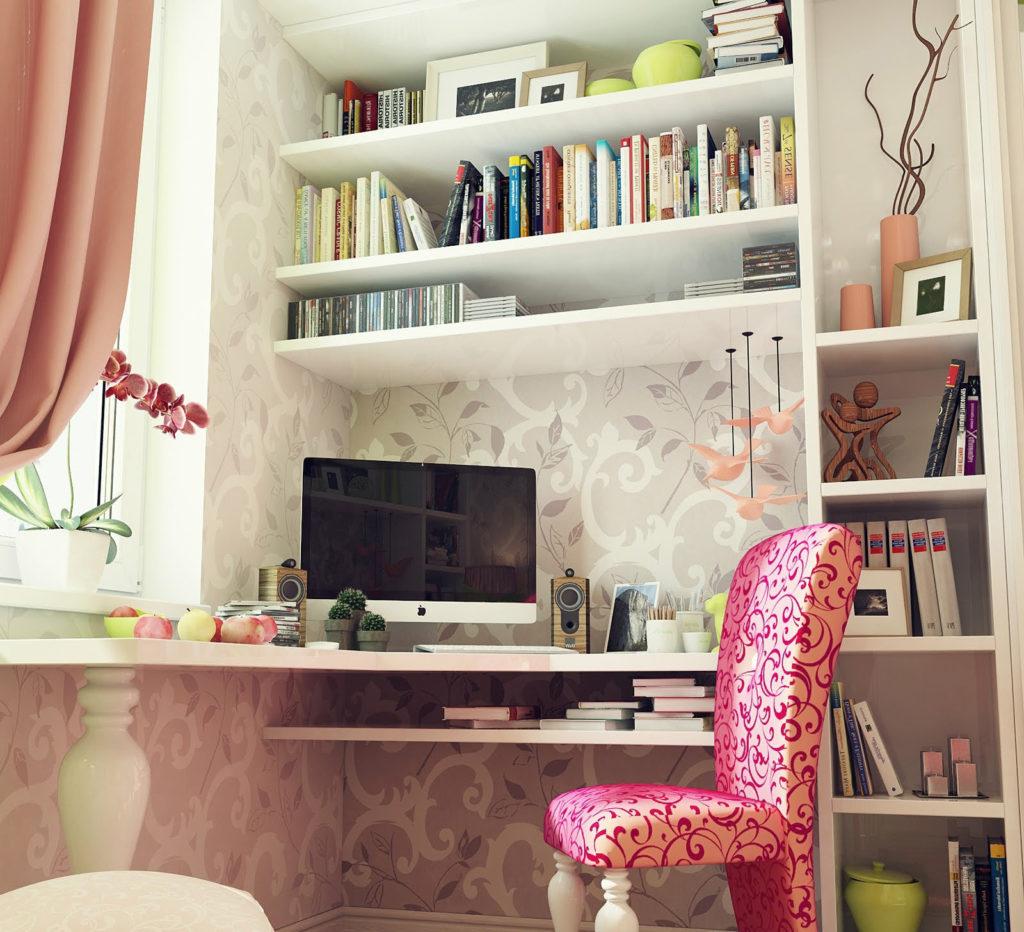Рабочая зона в комнате для девочки подростка