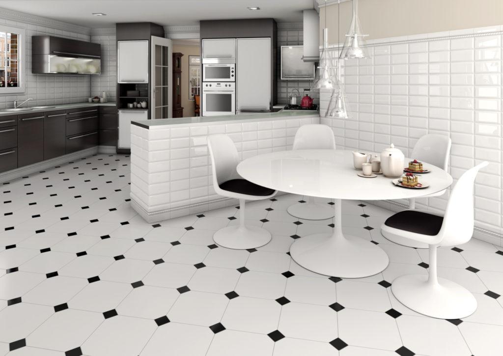 Черно-белая плитка на кухне