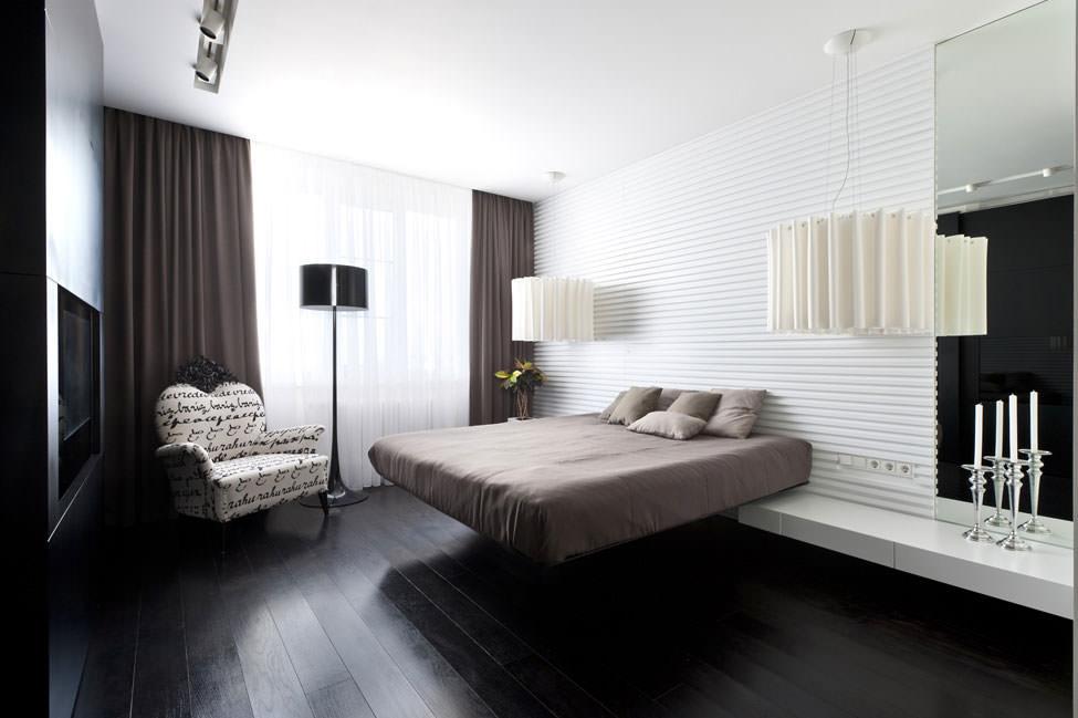 Черный пол с белыми фактурными стенами и потолком в спальне