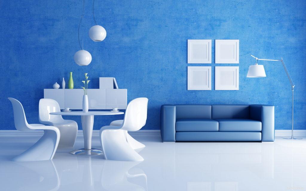 Синие обои с белым полом и мебелью