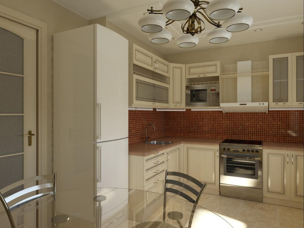 Белый холодильник у входа на кухню
