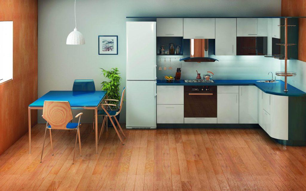 Линейное расположение холодильника на кухне
