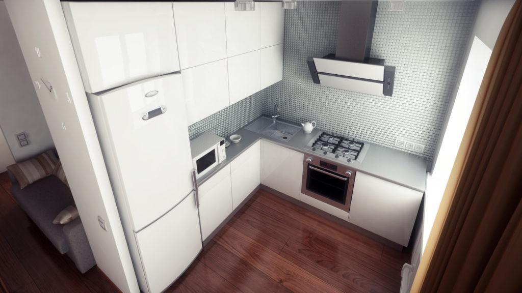 Коричневый ламинат на небольшой кухне