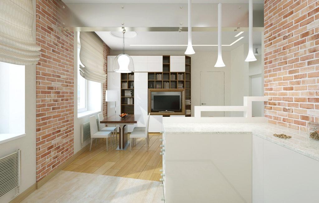 Ламинат и плитка в квартире студии