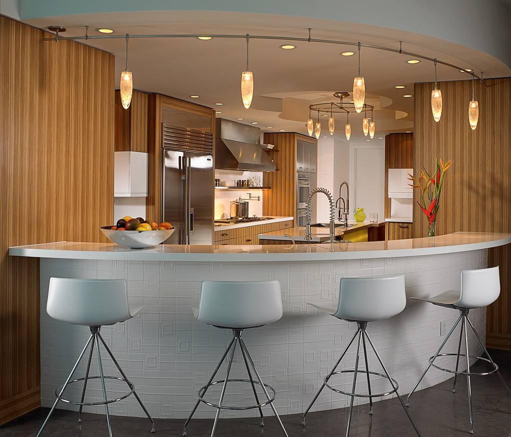 Функциональная большая кухня с барной стойкой