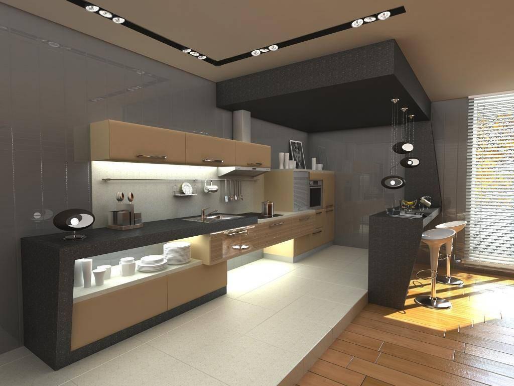 Большая современная кухня с барной стойкой