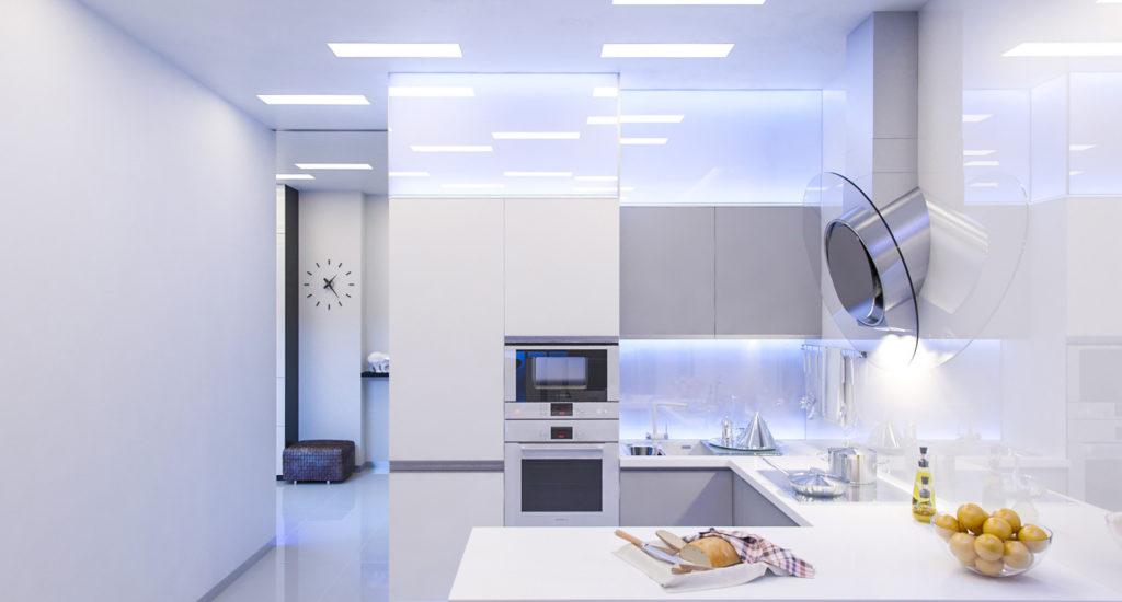 Белая кухня в стиле хайтек