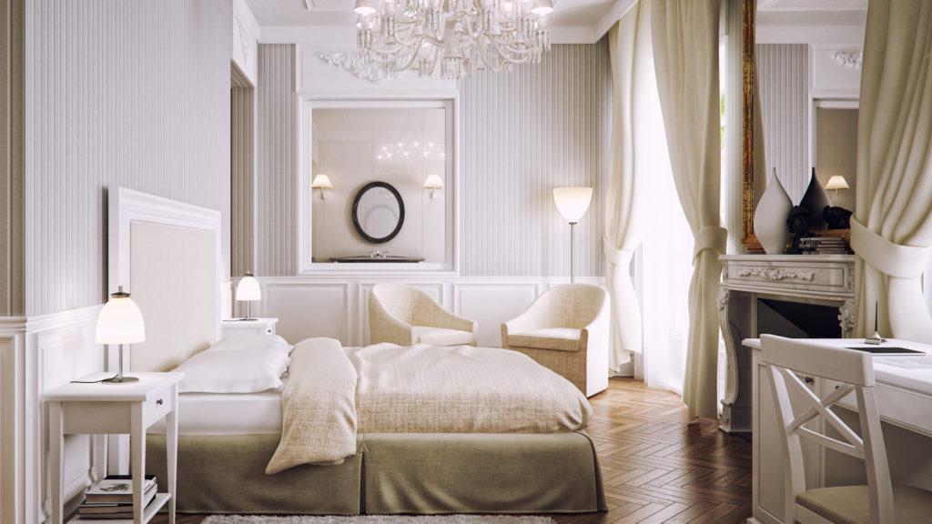 Светлые панели и вертикальные полосы увеличивают спальню