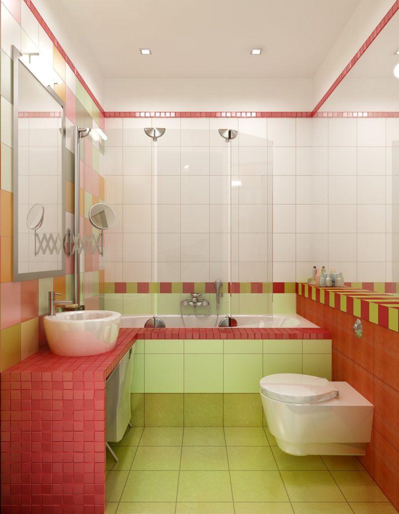 Контрастные яркие стены в ванной делают ее немного больше
