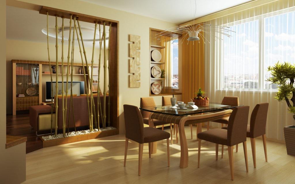 Декоративная бамбуковая перегородка и легкие шторы