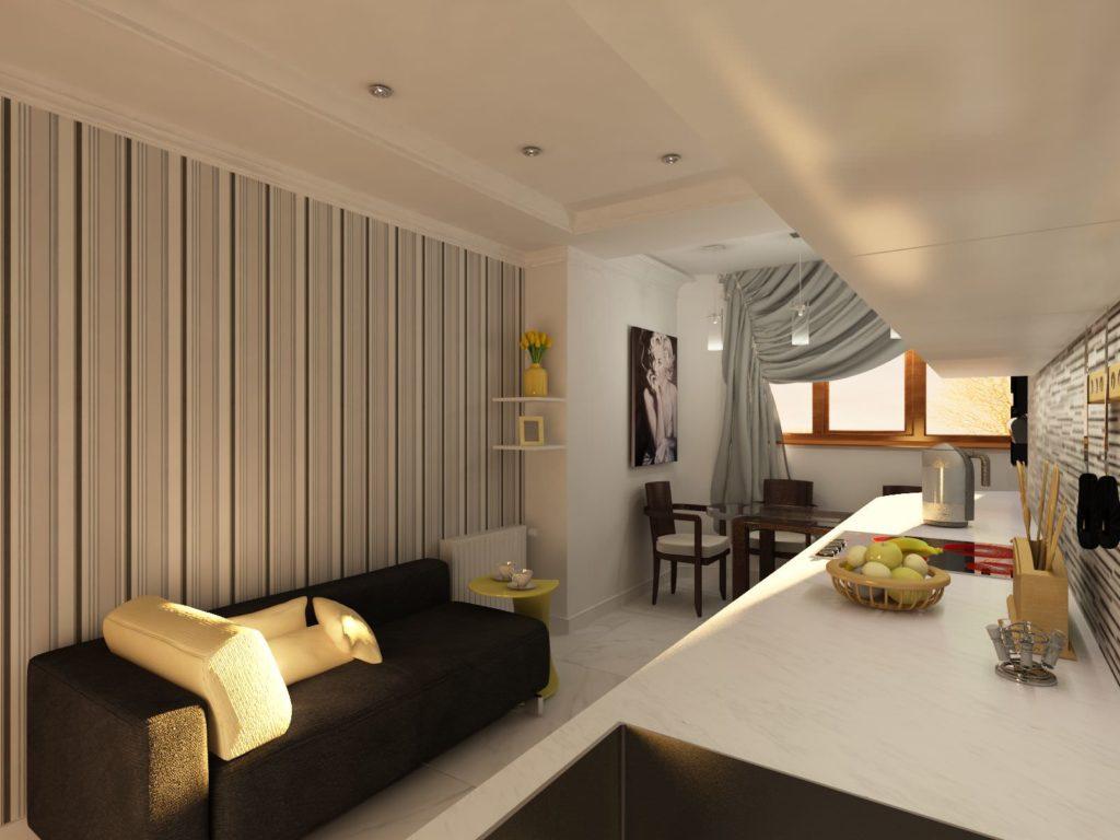 Кухня с большим окном и многоуровневым потолком кажется больше