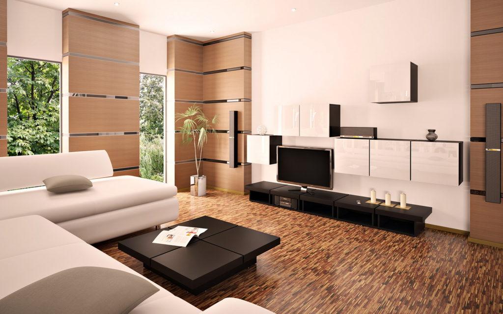 Грамотное сочетание темных и светлых цветов делает комнату еще больше