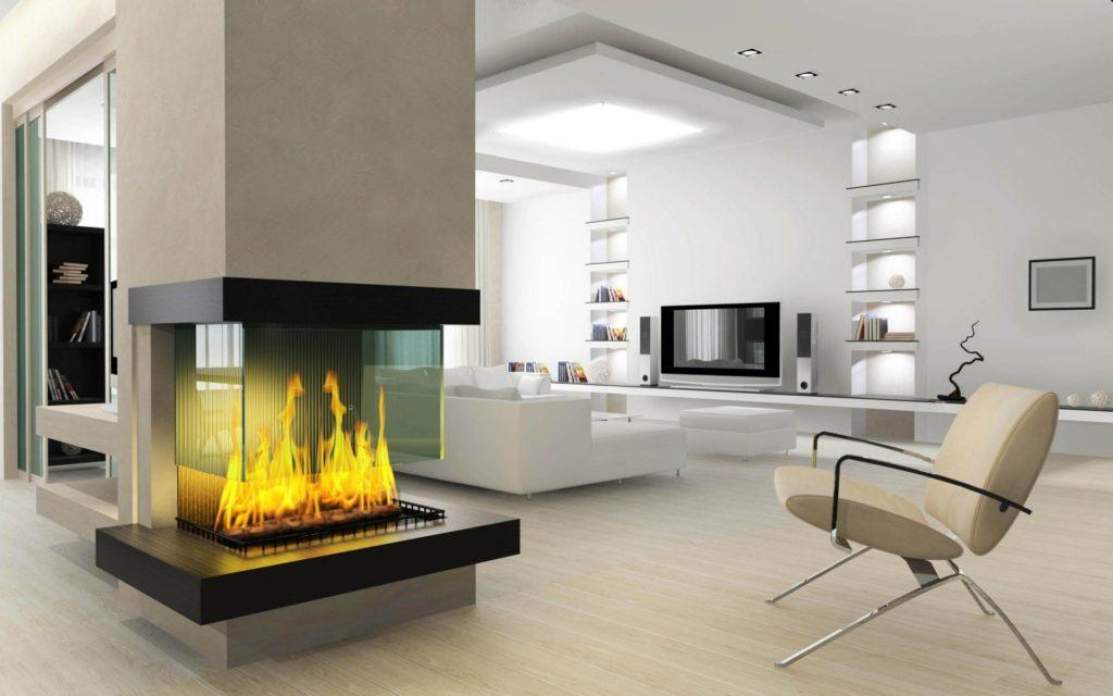 Красивый современный камин в минималистичном интерьере