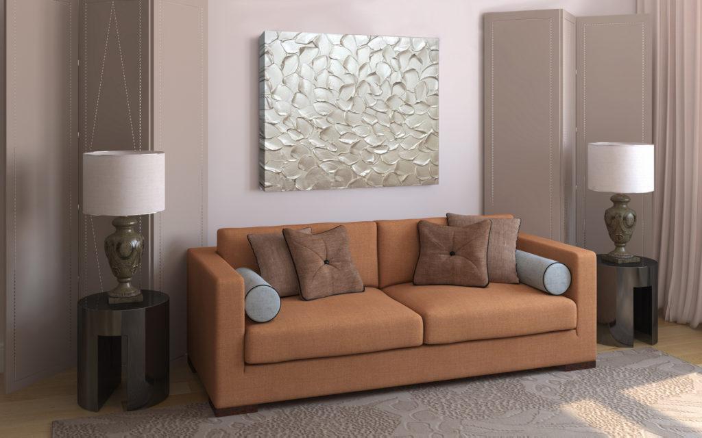 Серебристая картина в гостиной