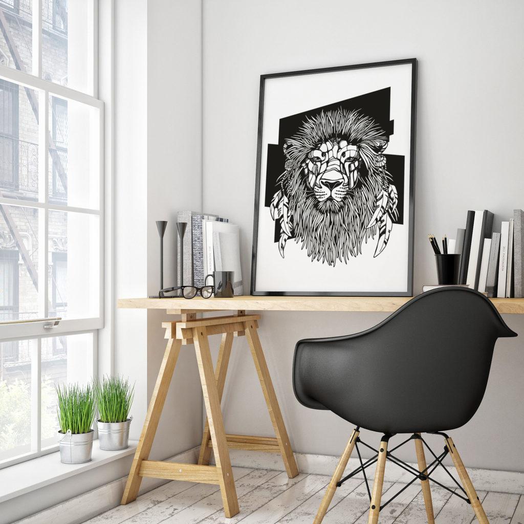 Постер со львом на рабочем столе