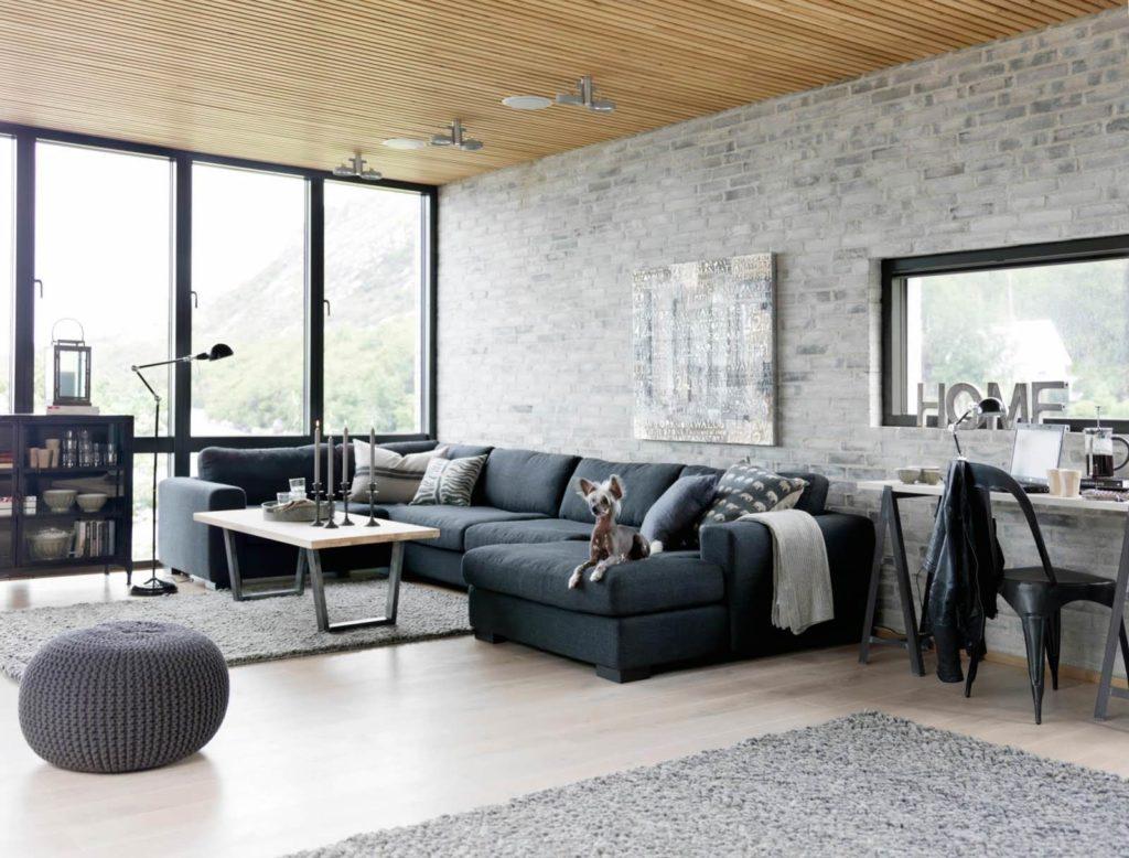 Серый кирпич в современном дизайне гостиной