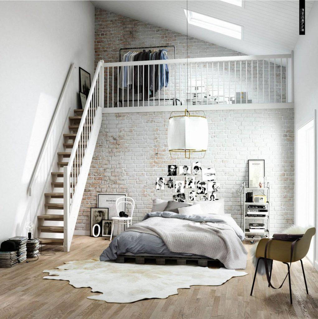 Белая кирпичная стена в дизайне двухуровневой спальни