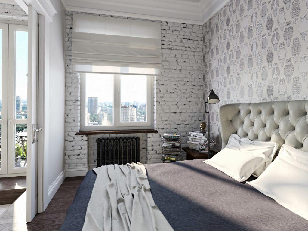 Белая кирпичная стена и светлые обои в интерьере спальни