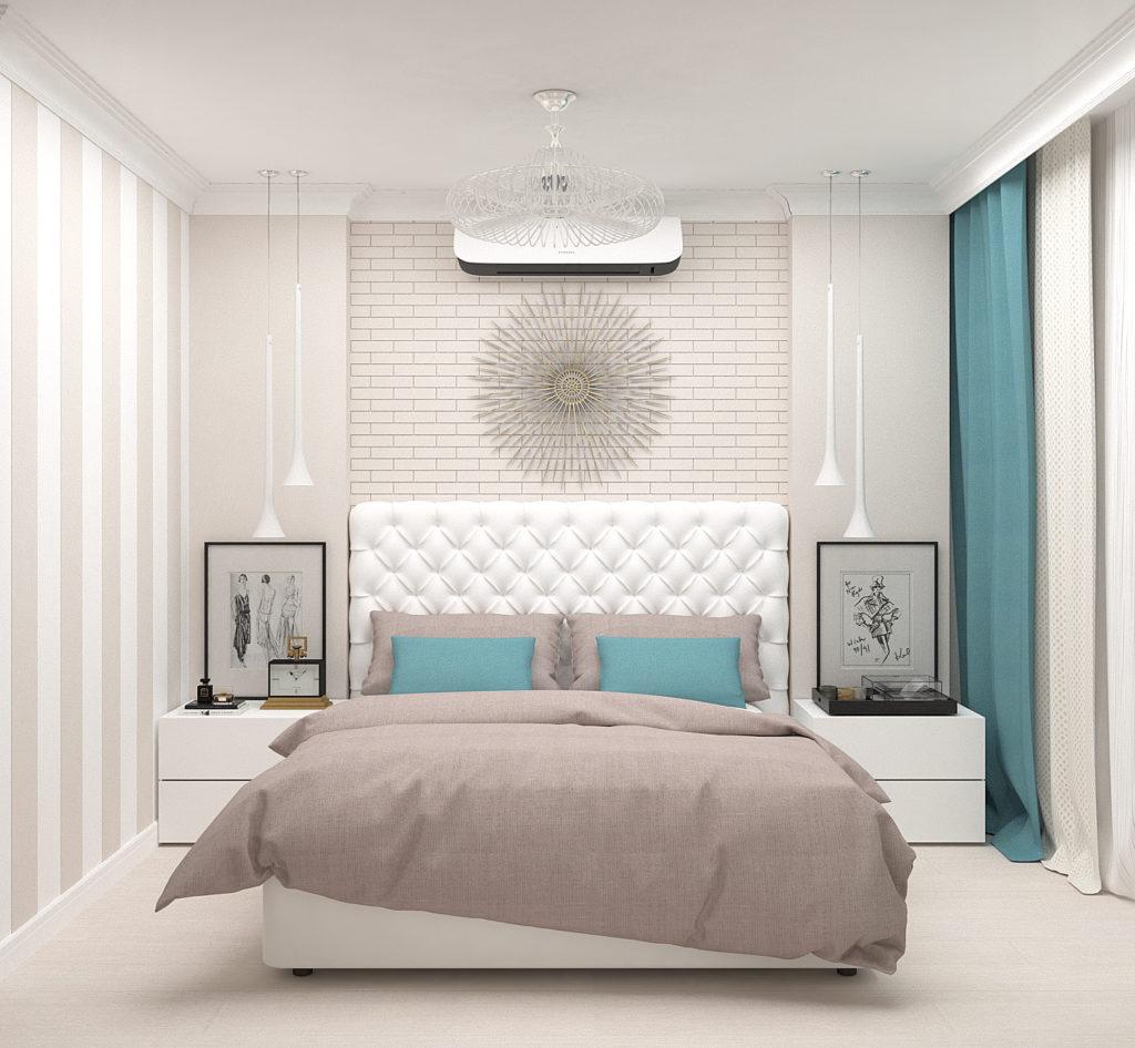 Белая кирпичная стена в интерьере светлой спальни