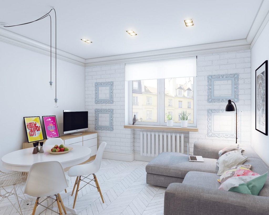 Кирпичная кладка в скандинавском дизайне квартиры