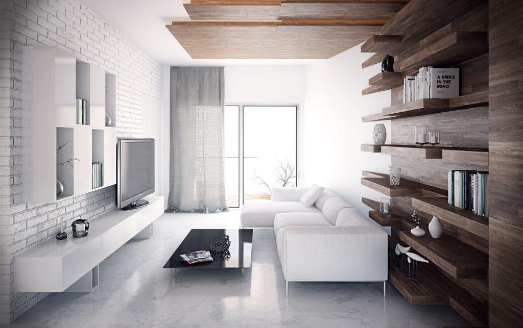 Белый кирпич и деревянные полки в гостиной