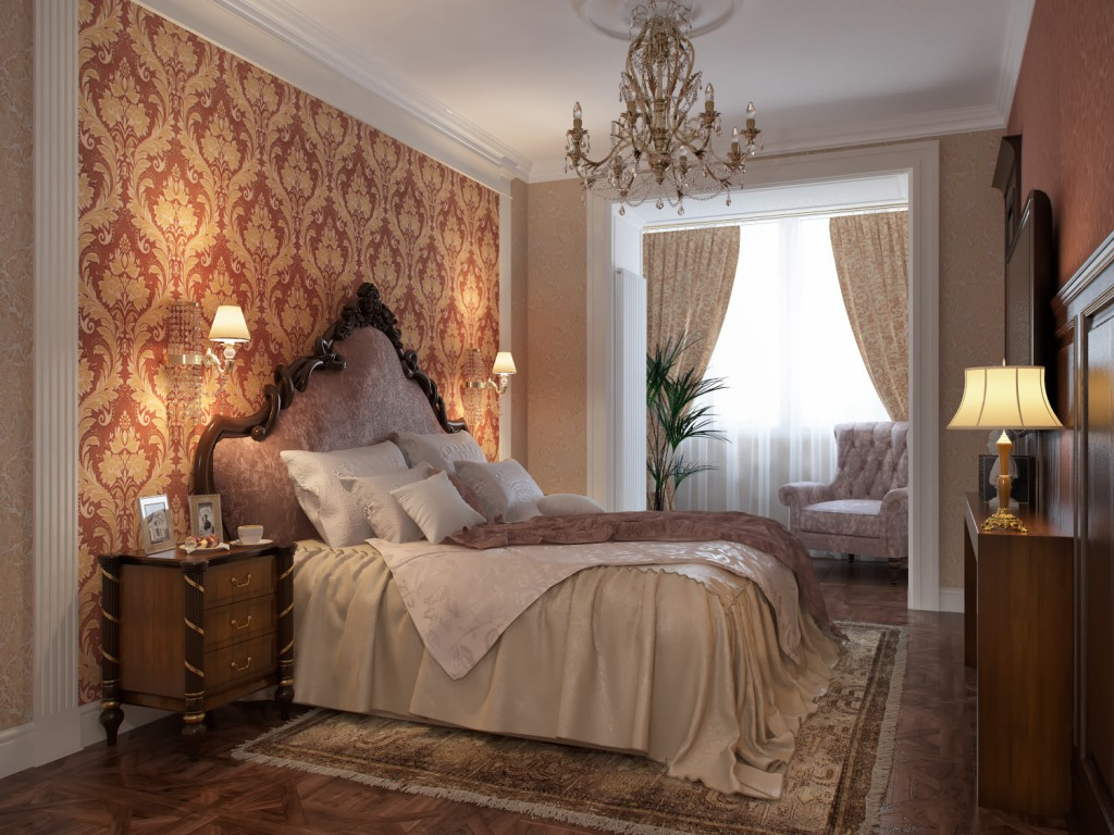 Сочетание классических обоев в спальне