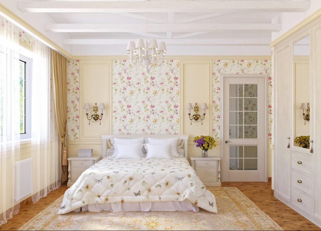 Обои и панели в классической спальне