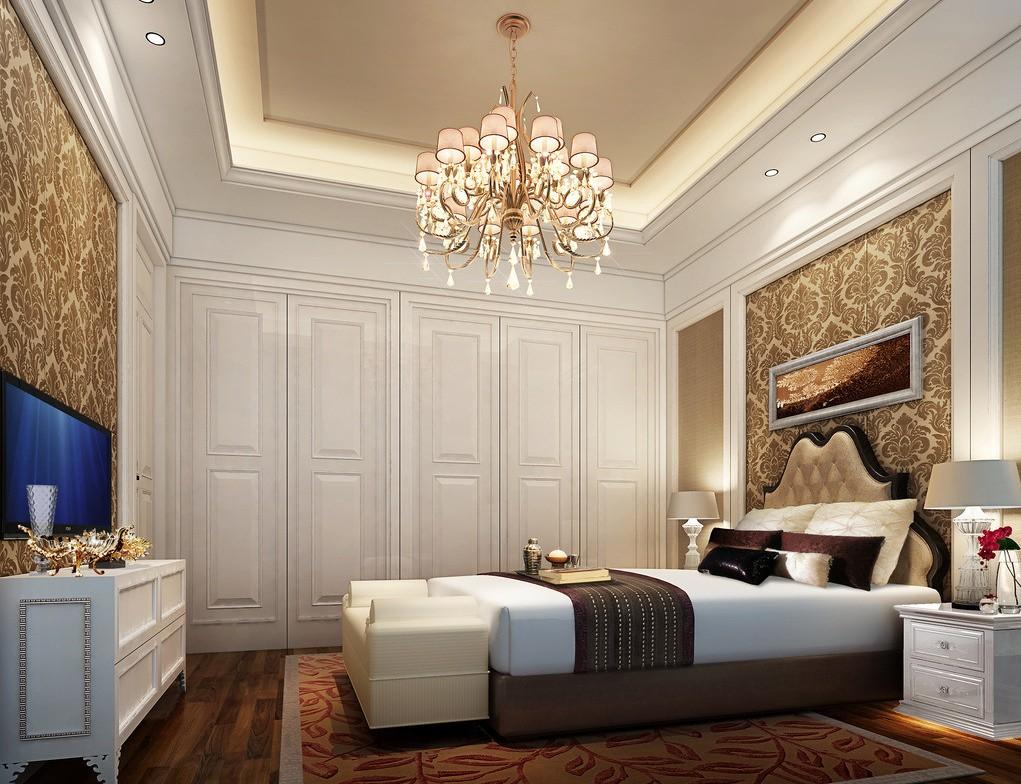 Обои с узором и панели в классической спальне