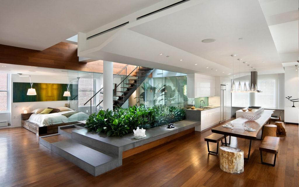 Комнатные растения также могут эффективно разделять пространство квартиры
