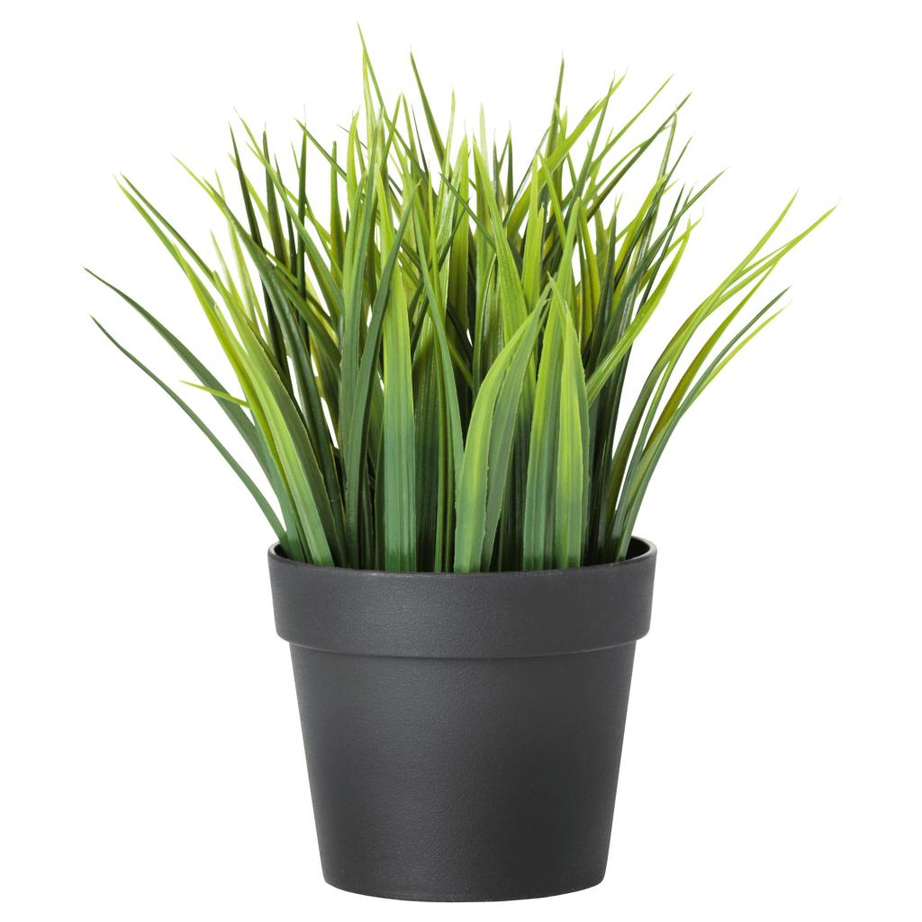 Искусственная трава в горшке для украшения квартиры