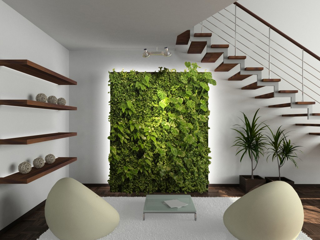 Декоративная панель с живыми растениями в гостиной