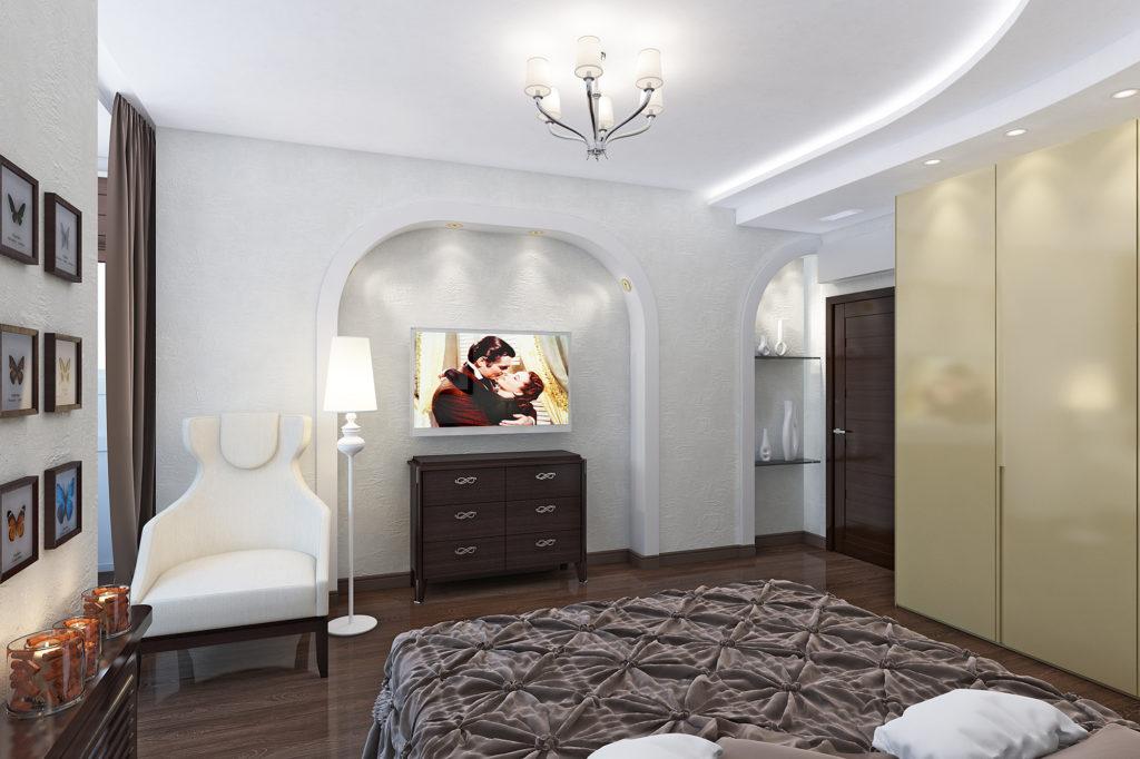 Темный комод в интерьере спальни