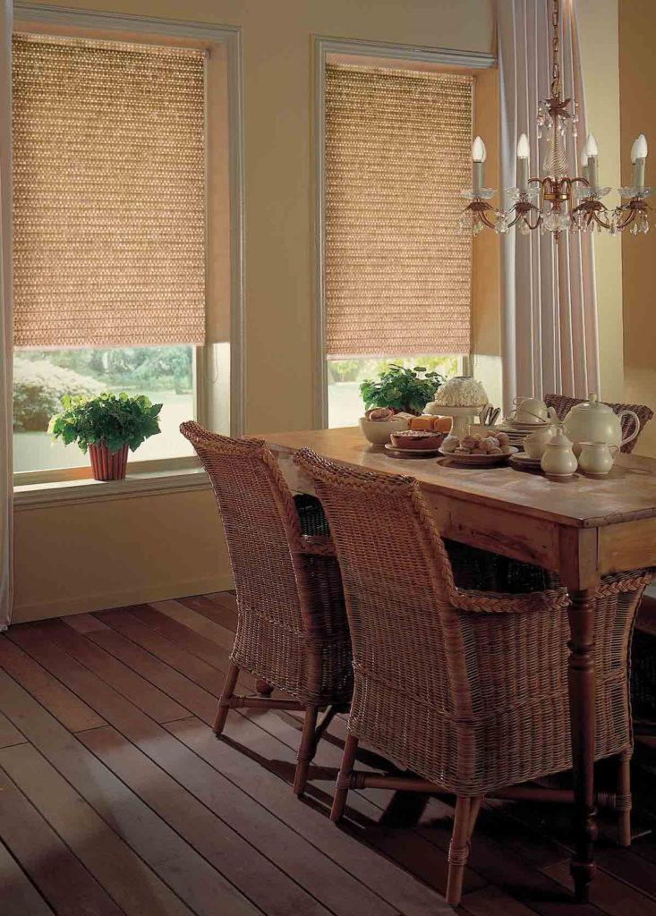 Необычные плетеные шторы для кухни