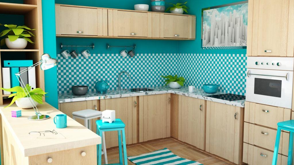 Моющиеся изумрудно-белые обои на кухне