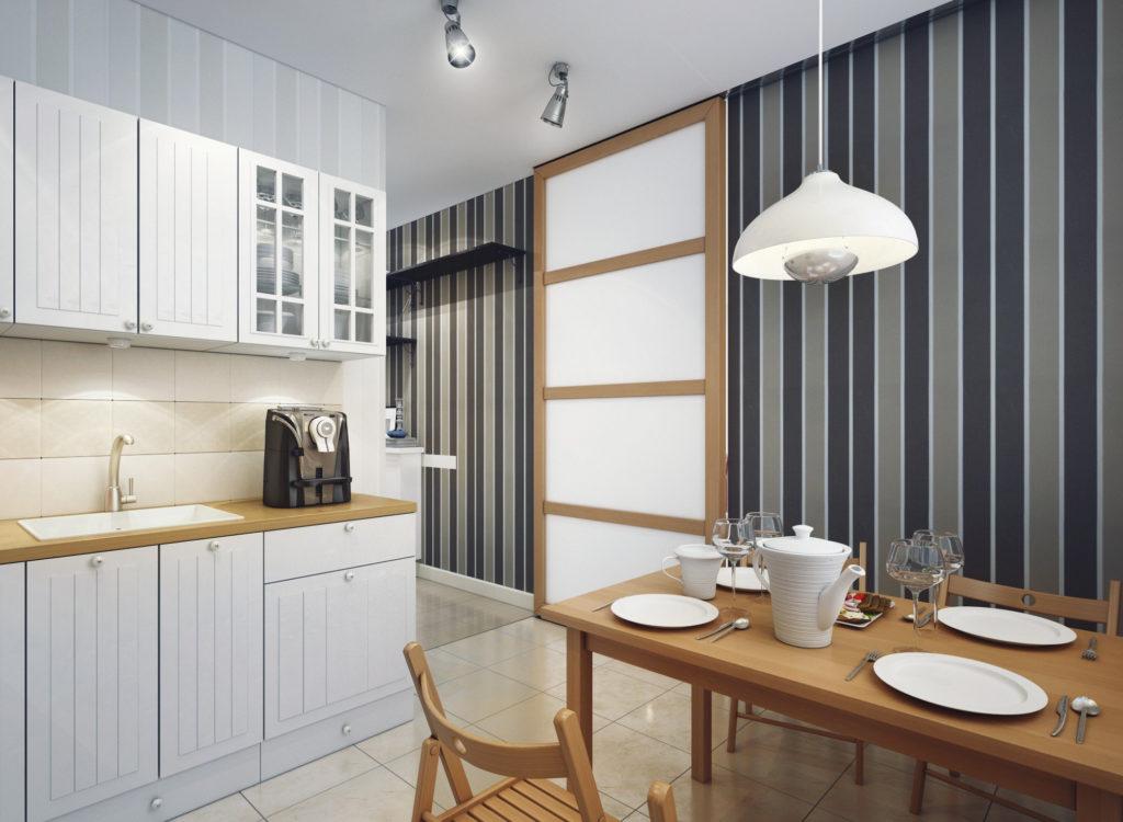 Стильные полосатые обои на кухню