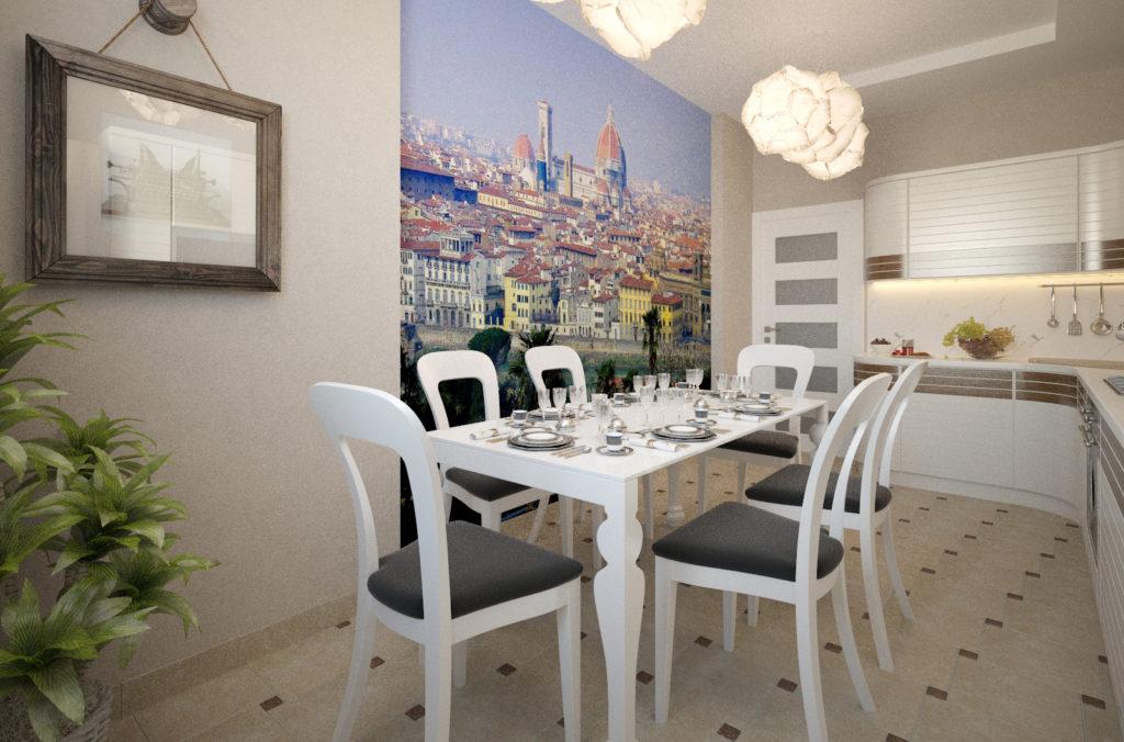 3d обои с изображением города на кухне