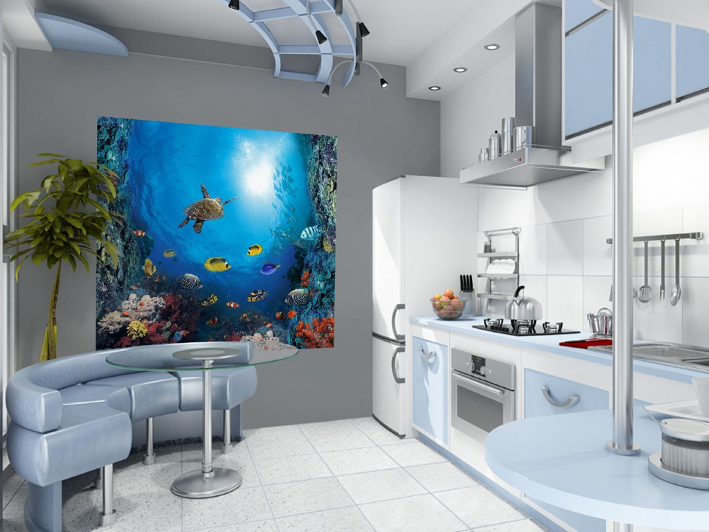 3d обои с изображением океана на кухне