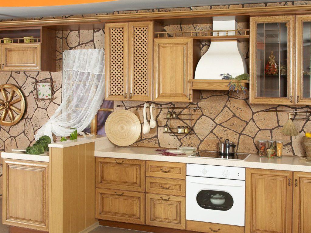 Виниловые обои под камень на кухне