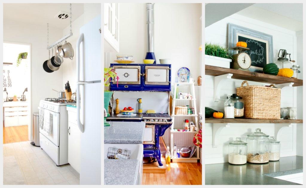 Различные дизайнерские решения с кухонными полками